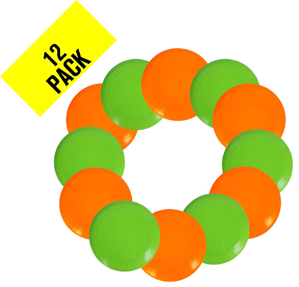 Plastic Flying Disc - Pack of 12 Discs - Assorted Colors - Heavy-Duty Bulk Set of 11-inch Flying Saucers - Great for School, Classroom, Prizes, and Party Favors - Best Value - Made in USA (Assorted) by PTC, Inc.