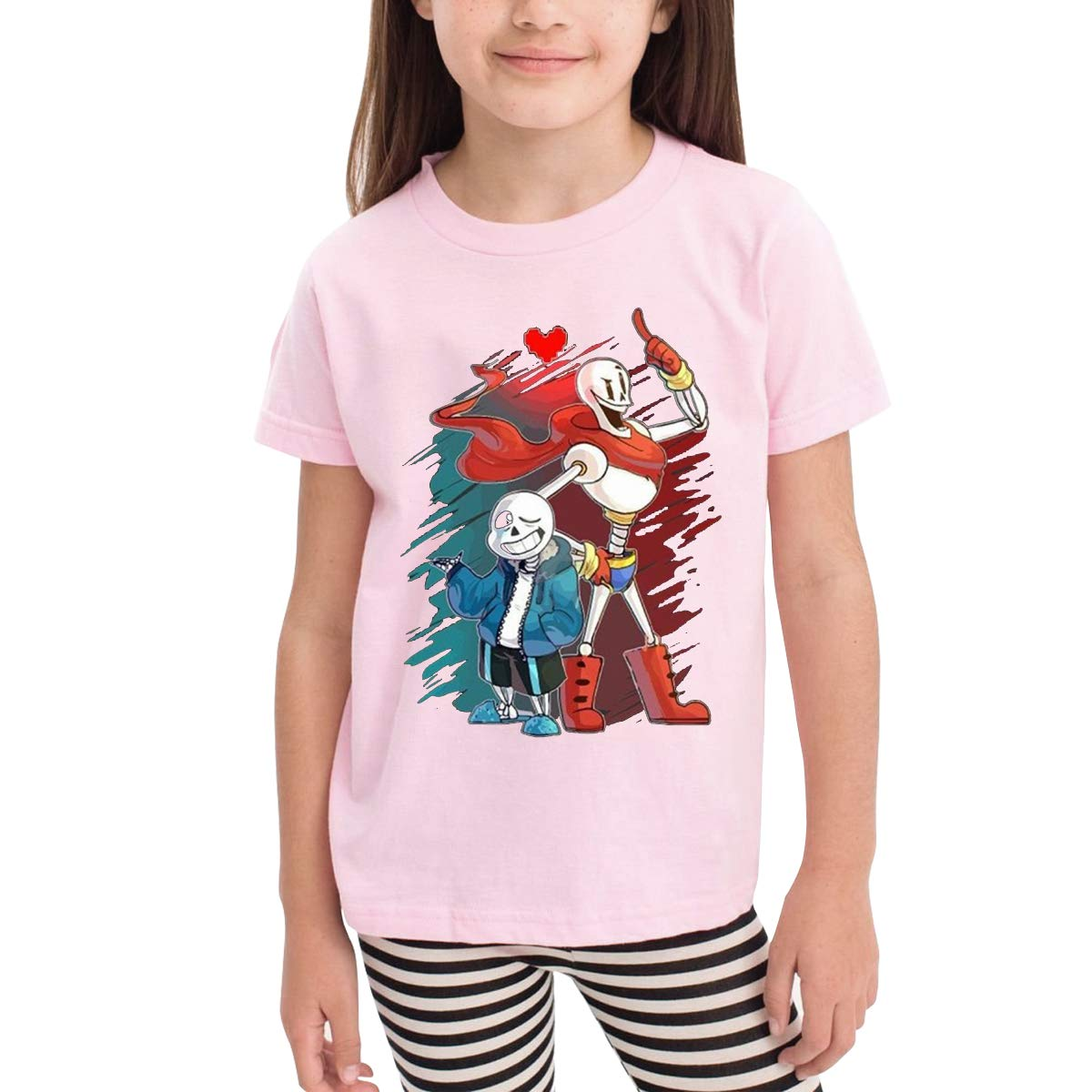 6-24 Month Baby T-Shirt Loose Self-Cultivation 2-6 Year Old Childrens T-Shirt San and Papyrus Logo Pink