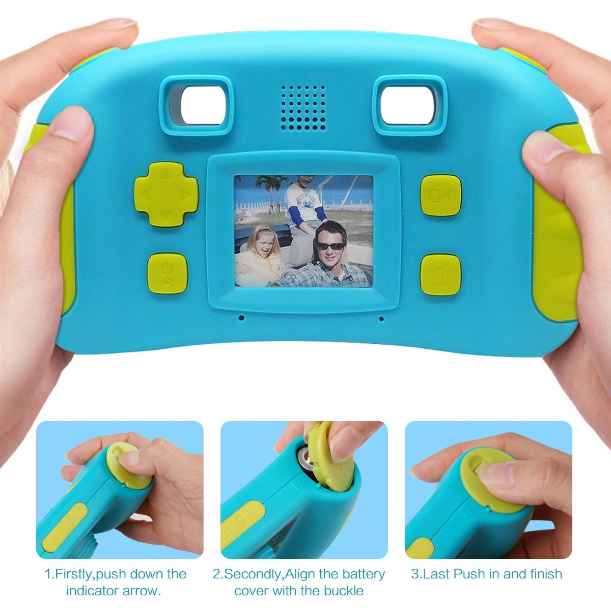 HankeRobotics Kids Digital Camera, with 8GB Micro SD Card, Kids Digital Photo/Video Camera with 4X Zoom, 1.7 Inch Screen Screen Action Camera Camcorder for Children Boys Girls Birthday Gift,Blue by HankeRobotics (Image #6)