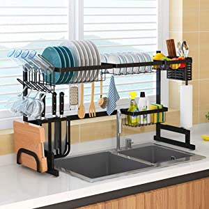 Upgrade Dish Drying Rack Over Sink, Kitchen Hanging Drying Dish Supplies Storage Shelf Utensils Holder Stainless Steel Display-Counter-top Space Saver Stand