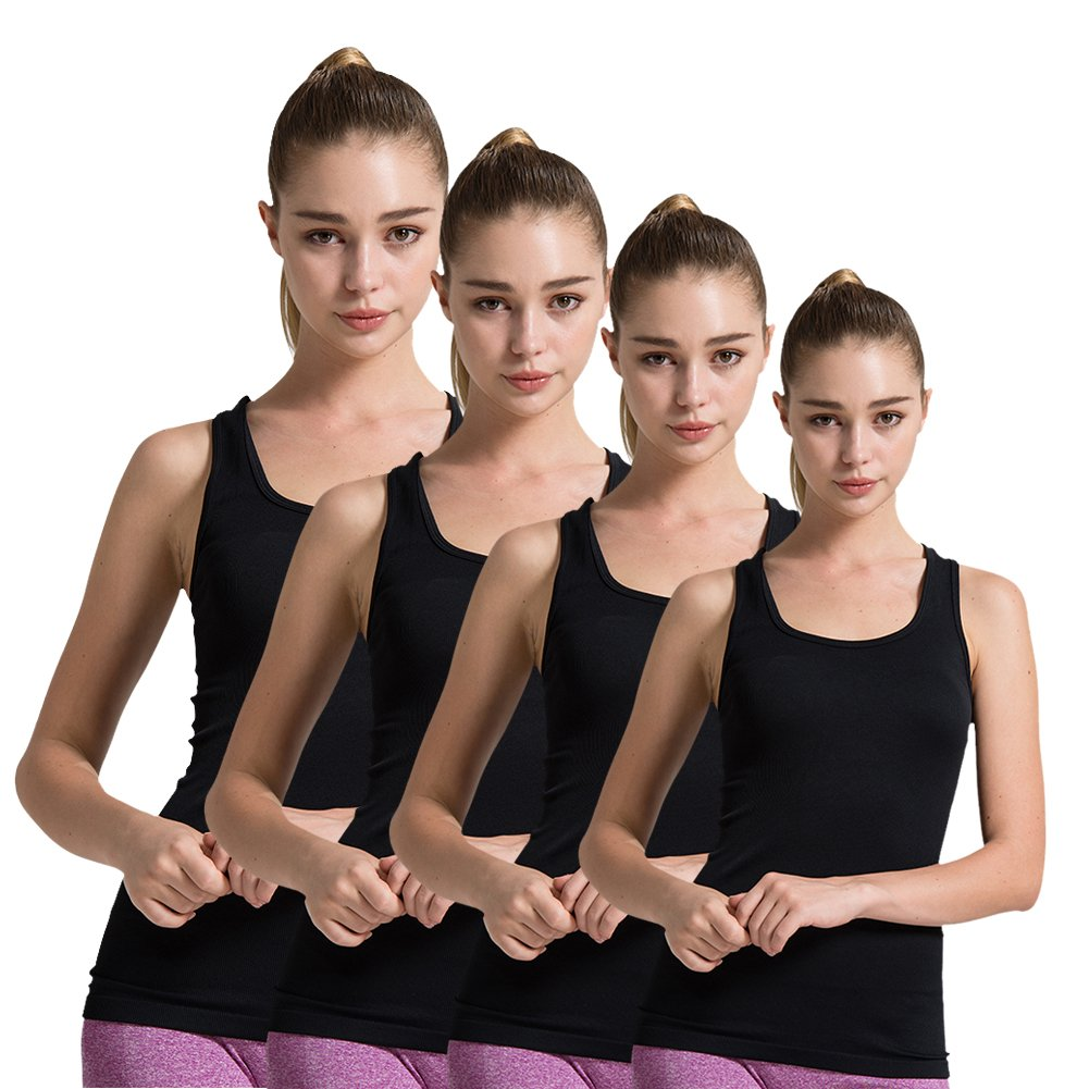 4pack Black Semath Tank Top for Women, Running Workout Clothes Athletic Yoga Racerback 16 Pack