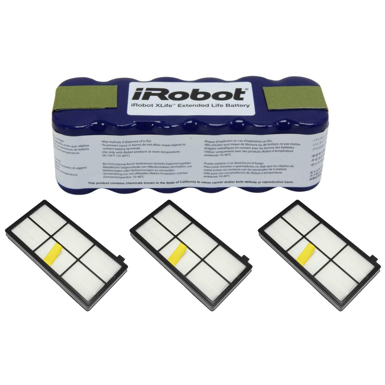iRobot 4419696 XLife Extended Life Battery w 4415864 AeroForce High-Efficiency 800 & 900 Series Roomba Filters (3-Pack)