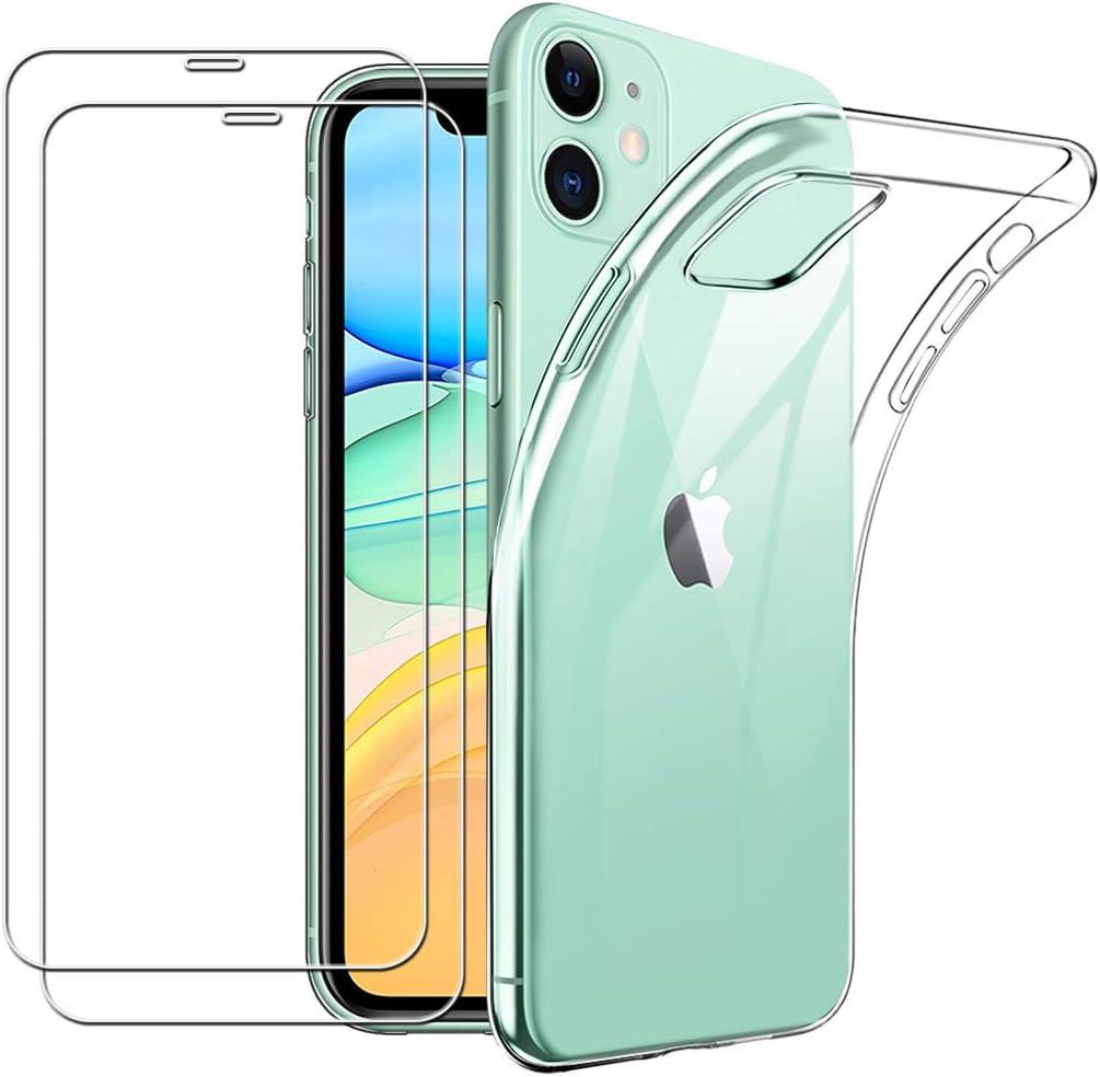 Yoowei para iPhone 11 Funda + [2-Pack] Cristal Templado, Transparente Suave Delgado TPU Silicona Carcasa con 2 Unidades Protector de Pantalla de Vidrio Templado para iPhone 11: Amazon.es: Electrónica