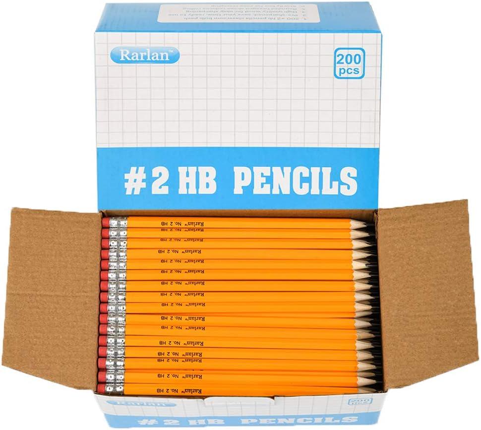 Rarlan Wood-Cased #2 HB Pencils, Pre-sharpened, 200 Count Classpack