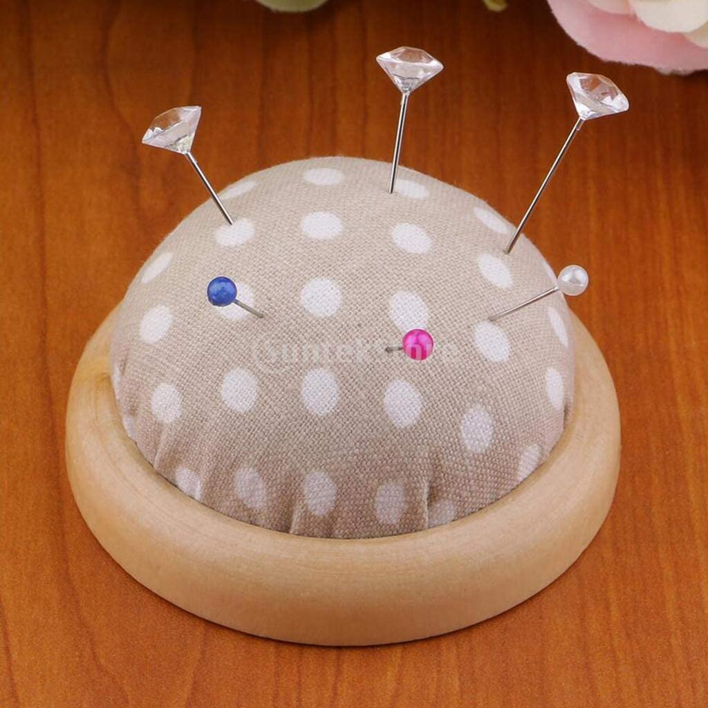 D Beginners Crafters etc Bonarty Wooden Base Pin Cushion Printed Fabric Pin Cushions Needle Pincushions for Sewing Enthusiasts
