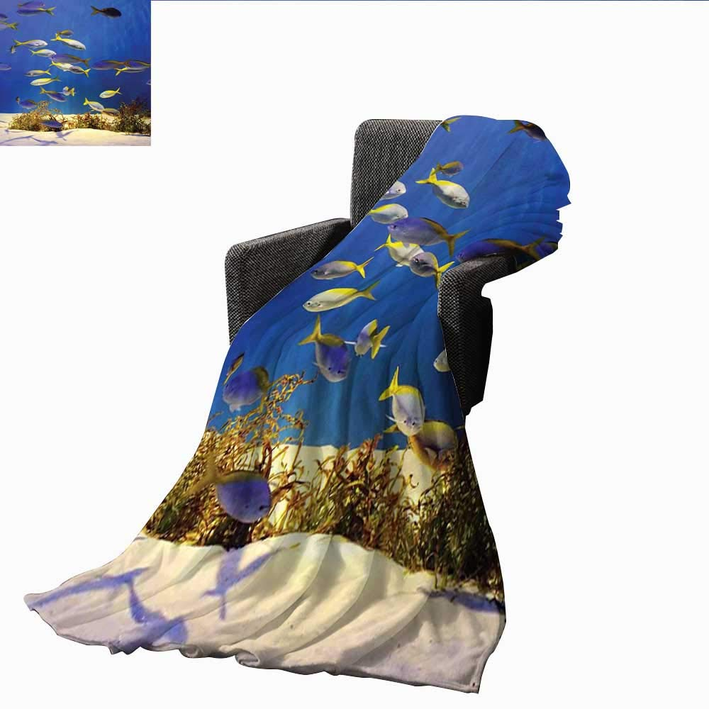 PearlRolan Camping Blanket,Ocean,Clear Underwater Sea World Marine Plants and Tropical Fish School,Navy Blue Ivory and Yellow,Flannel Blankets Made with Plush Microfiber 60''x70''