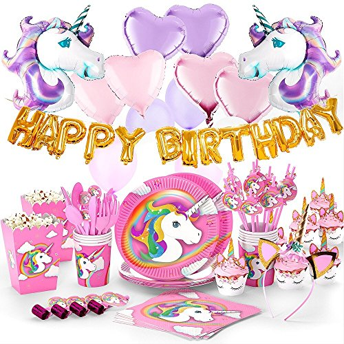 180+ PCS Complete Unicorn Party Supplies & Decorations - Glittery Unicorn Headband | Disposable Tableware Set | 30 Magical Balloons | 24 Pc Unicorn Cupcake Wrappers & Toppers | Party Favors by FETTI FETTI (Image #1)