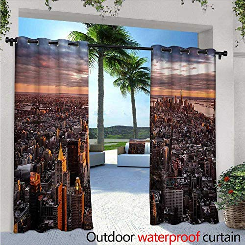 BlountDecor USA Outdoor Blackout Curtains W96 x L108 Aerial View of The Manhattan Skyline at Sunset Famous Financial District NYC Outdoor Privacy Porch Curtains Blue Orange White