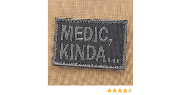 medic kinda 2x3 25 blackout subdued tactical military morale hook patch