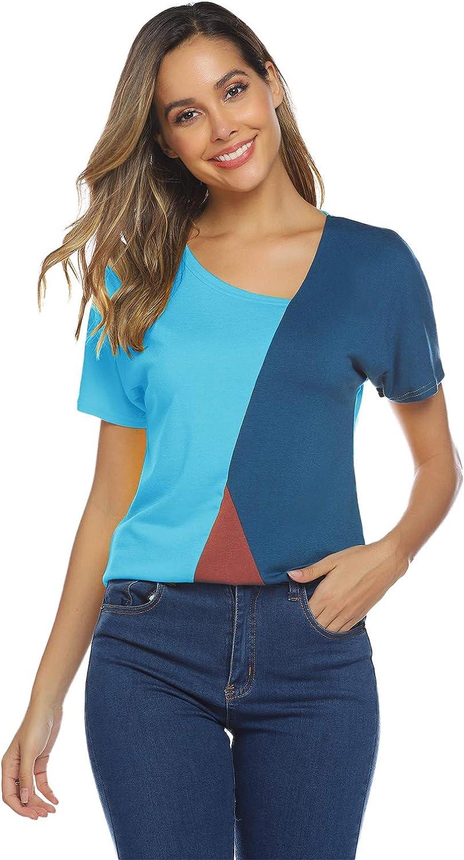 T-Shirt Damen V Ausschnitt Kurzarm//Langarm Sommer Casual Farbblock T Shirt Top Bluse Oberteil