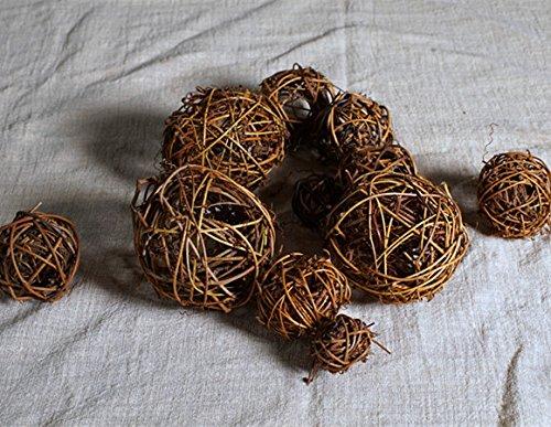 Mecari Set of 12 Natural Vine Balls ,Bowl and Vase Filler