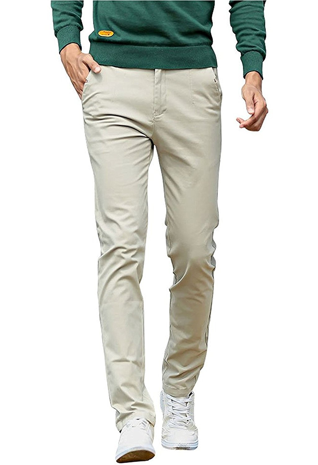 OUYIBA Men's Straight Skinny Casual Pants Stretchy Cotton Trousers (32, Khaki)