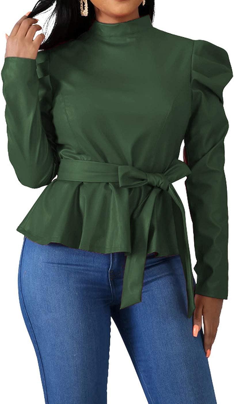 Women's Sexy Pu Leather Pulff Long Sleeve Flounce Ruffle Peplum Blouse Shirt Tops Clubwear