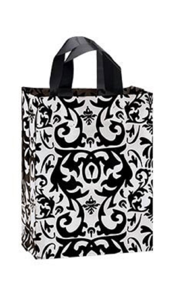 Medium Black Damask Frosted Plastic Shopping Bags - Case of 100