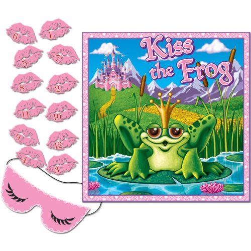Kiss The Frog Party Game (mask & 12 lips included) Party Accessory  (1 count) (Valentines Party Games)