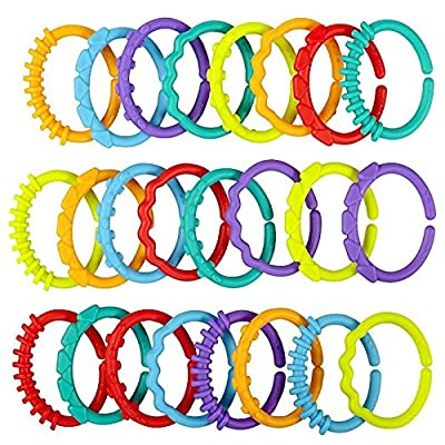 24pcs Baby Rattle Teether Rainbow Rings Crib Bed Stroller Hanging Decoration Toy : Baby