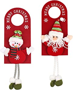 Christmas Door Hanger 2Pcs Christmas Door Hanging Pendants, Christmas Door Decorations, Santa Door Hanger for Home Hotel Door Hanger Board Doorknob (Santa and Snowman)
