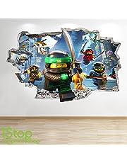 1Stop Graphics Shop Lego Ninjago Smashed - 3D muurtattoo voor kinderkamer, vinyl Z726
