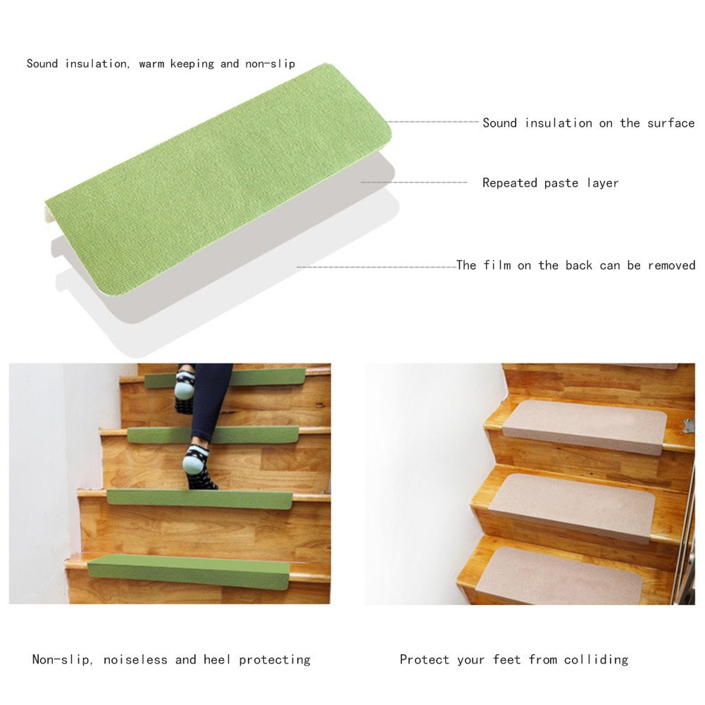 5Pcs Luxury Stair Treads Solid Skid Resistant Rubber Backing Non Slip Carpet Stair Tread Mats Rug Self -adhesive Step Pad for Home Safety by Feileng (Image #3)