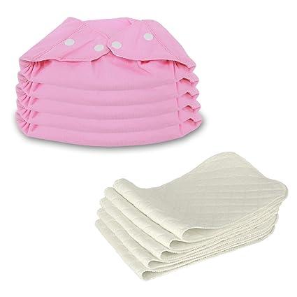 Dazone Baby 5 Pcs diamer Insertos 5 Pcs bolsillo pañales de tela Snaps fundas para reutilizable