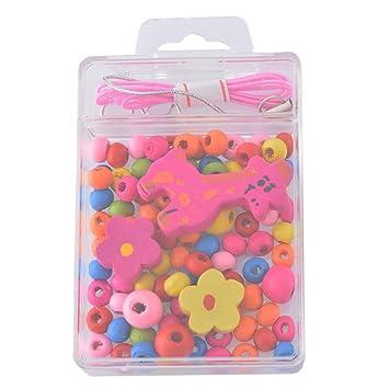 Kit Mixte Perles Bois Fleur Bracelet Bijoux Enfant Cadeau Loisir créatif 9cm