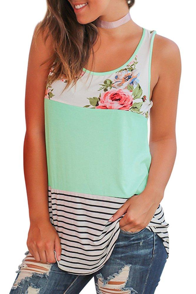 WFTBDREAM Womens Tops Sleeveless Round Neck Stripe T-Shirts Casual Tank Tops Green M
