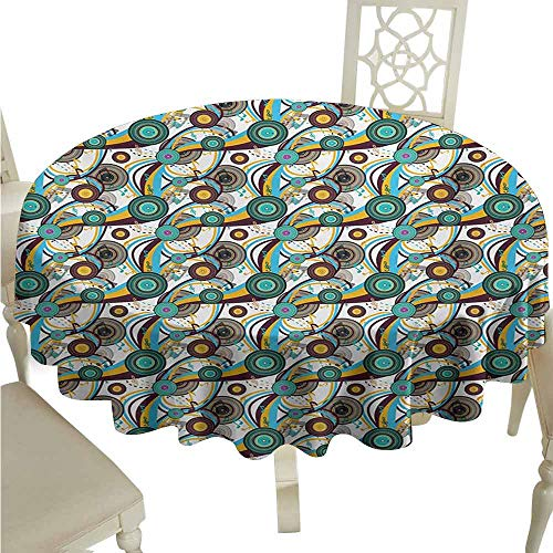 Music Durable Tablecloth Colorful Bullseye Circles Swirled Lines with Notes Arrangement of Geometric Shapes Easy Care D63 Multicolor