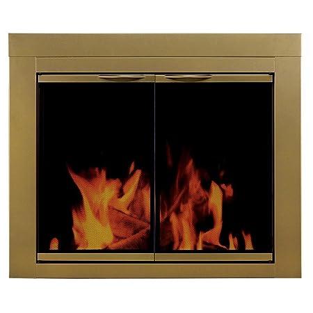 Pleasant Hearth Ashlyn Small Glass Fireplace Doors Amazon