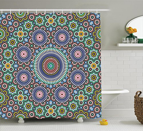 Ambesonne Moroccan Decor Collection, Classic Mosaic Design Striped Centered Detailed Craft Work Tile Antiquity Illustration, Polyester Fabric Bathroom Shower Curtain, 75 Inches Long, Green ()