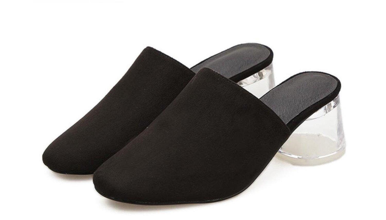 GDXH Frauen Slipper & Flip-Flop Neuheit Frühling beiläufige beiläufige beiläufige Outdoor Transparent Heel Schuhe schwarz Beige Mode Hausschuhe ad8199
