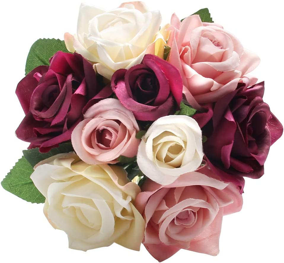 Artificial Fake Flowers Silk Plastic Artificial Roses 9 Heads Bridal Wedding Bouquet for Home Garden Party Wedding Decoration (Mix Color)
