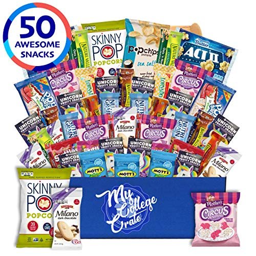 (My College Crate Lady Box Ultimate Lady Snack Box Care Package (50 piece Snack Pack) Chips Variety Pack, Cookies, Gummies, Popcorn)