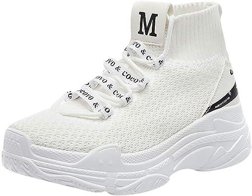 Espadrilles Femme Pas Cher,Baskets Mode Blanche Femme en Mesh Casual Respirant Antidérapant Chaud Chaussures de Running Chaussure de Securite Femmes