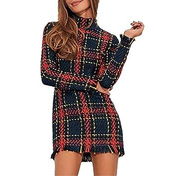 081344a8f Vestidos de invierno para damas Damas cuello redondo a cuadros de manga  larga a rayas delgado ...