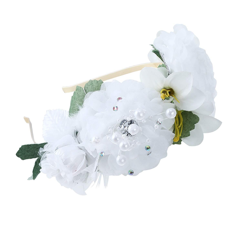 iwreuir Boho White Flower CrownWomen Elegant Pearl Feather Hair Ornament Garland Bezel HairHeadwear
