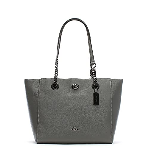 585d2327660 Coach Turnlock Chain Heather Grey Leather Tote Bag Grey Leather  Amazon.co. uk  Shoes   Bags