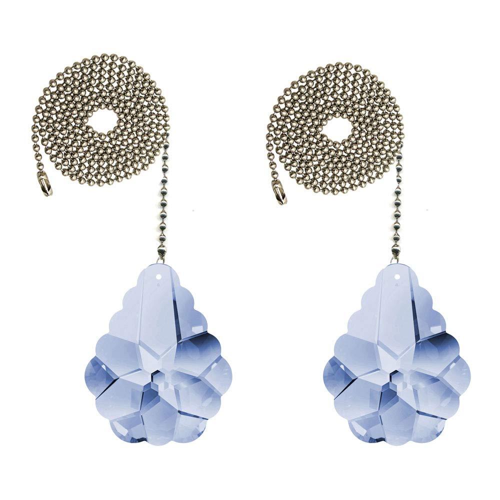 CrystalPlace Ceiling Fan Pull Chain 2-inch Swarovski Light Blue Pendeloque Prisms Decorative Fan Chain Pulls Set of 2
