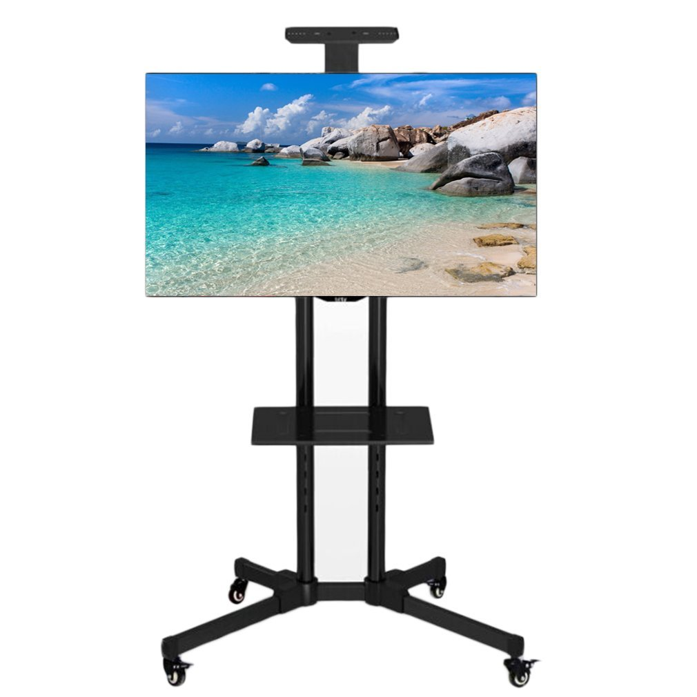 Belovedkai Black Mobile TV Cart, Floor TV Stand Cart, for LCD LED Plasma Flat Panel Stand with Wheels for 32'' to 65''