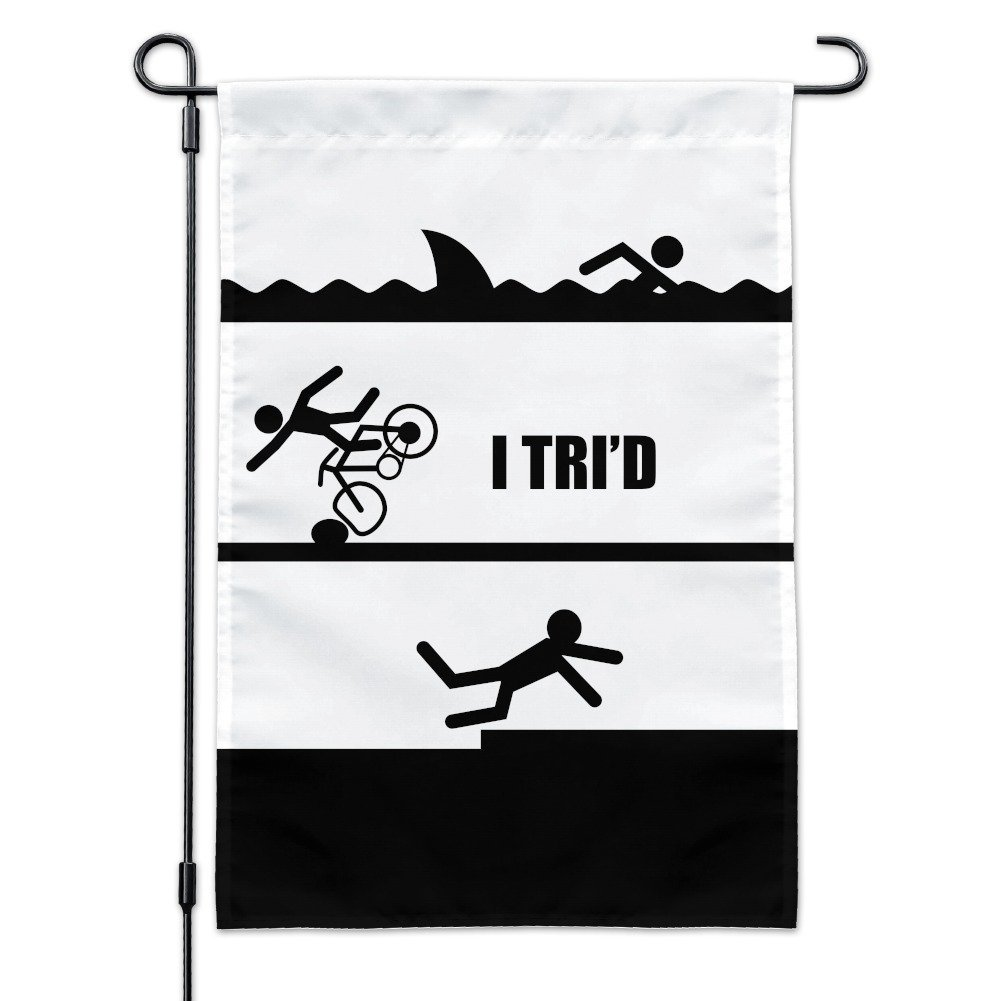 Graphics and More I Tri'd Triathlon Triathlete Swim Bike Run Tried Funny Garden Yard Flag with Pole Stand Holder by Graphics and More (Image #1)