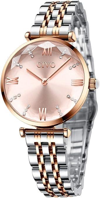 CIVO Reloj Mujer Relojes de Pulsera Analogico Minimalistas Oro ...