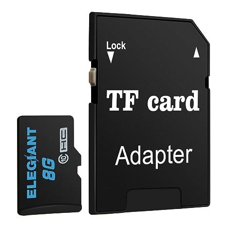 ELEGIANT 8GB Micro SD Tarjeta TF Tarjeta de Memoria con Adaptador Micro SD Clase 10 Seguro Digital De Alta Velocidad Flash Con Adaptador SDHC