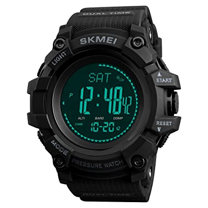 Amazon.com: SKMEI Mens Compass Watch, Digital Sports Watch Pedometer Altimeter Barometer Temperature Military Waterproof Wristwatch for Men: Watches