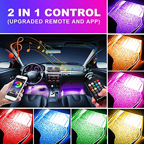 OXILAM Car LED Strip Light, 4pcs 48 LED Multicolor Music LED Car Interior Lights, Wireless Remote and APP Control, Sound Active Function, Under Dash Lighting Kit for iPhone Android Smart - Led Lights For Cars Interior