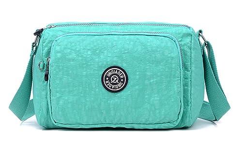 TianHengYi Womens Lightweight Nylon Cross-body Shoulder Bag Casual Messenger  Bag with Zipper Pockets Green 8775b0d759a05