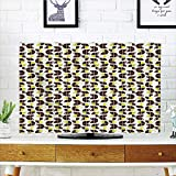 LCD TV dust Cover Strong Durability,Geometric,Retro Surreal Circle compatiblems Dots Sixties Inspired Design,Apple Green Chestnut Brown Cream,Picture Print Design Compatible 32'' TV