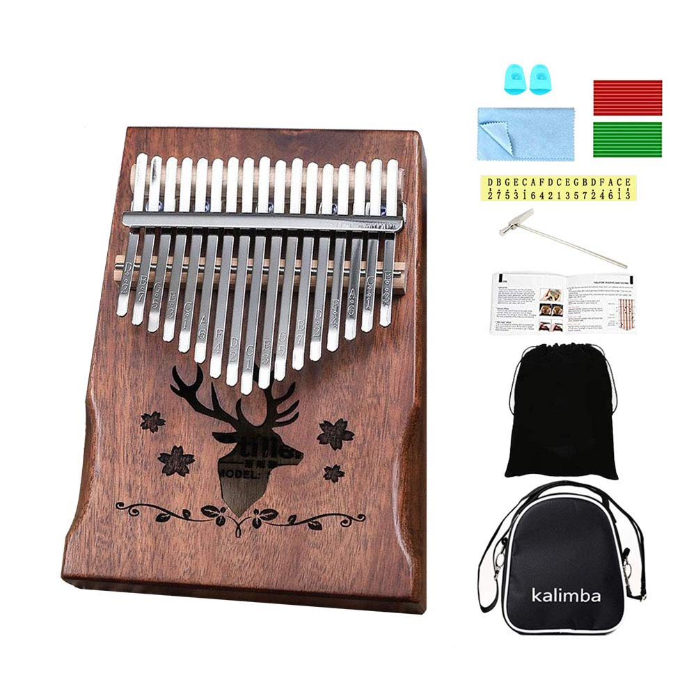 Kalimba 17 keys Thumb Piano Solid Finger Piano with Zippered Carry Bag Study Instruction Tuning Hammer by Bestfit4U (Image #1)