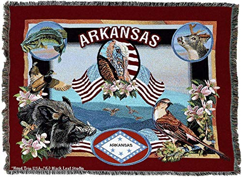 State Of Arkansas Woven Tapestry Throw Blanket With Fringe Cotton, 54