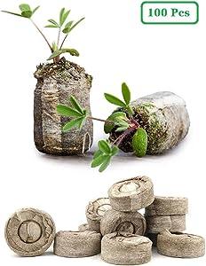 ZeeDix 100 Pcs (30mm) Peat Pellet Fiber Soil Plant Seed Starters - Plugs Pallet Seedling Soil Block, Seed Fertilizer Nutrient Block Compressed Peat Block for Grow Herbs, Plant,Flowers and Vegetables