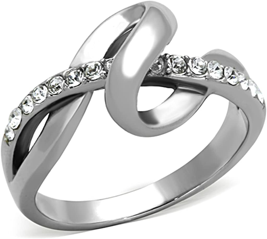 Lanyjewelry Designer Style Tarnish Free 316 Stainless Steel Womens CZ Ring Band
