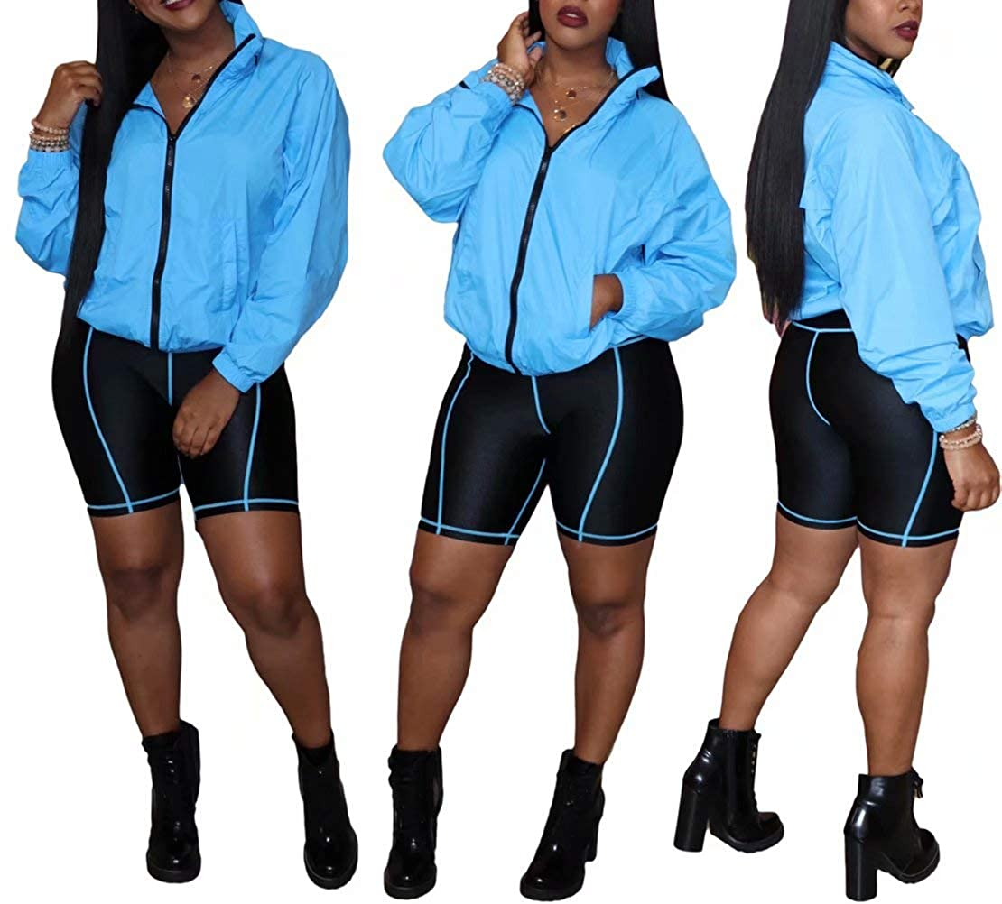 Yootiko Womens Fall Tracksuit 2 Piece Outfits Long Sleeve Solid V Neck Zip Up Jacket Bodycon Shorts Pants Set Plus Size